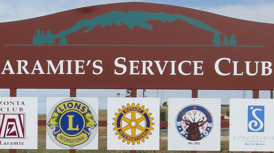 Community Service Club sign in Laramie, WY